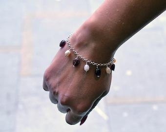 925 silver bracelet & charms of gemstone-Garnet and blown Lampwork Fresh water