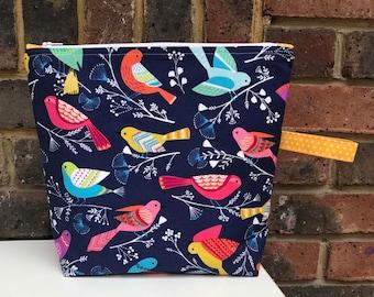 Bright Birds Zippered Project Bag