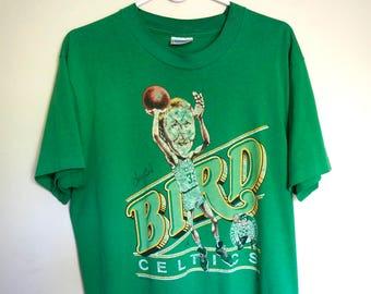 Vintage 80s Larry Bird Boston Celtics T Shirt // Green 80s NBA Basketball T shirt // Salem Cartoon Caricature // Size Large