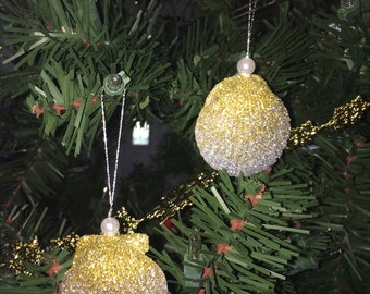 SeaShell Ornaments set of 12-Gold and Silver Ombre Glittered