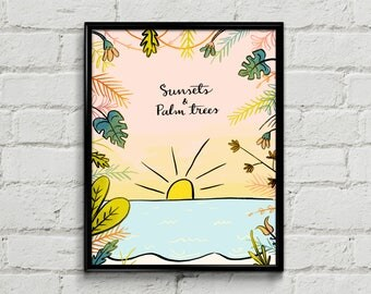 Sunsets and Palm Trees Art Print - 8x10 - Illustration