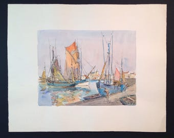 Signed original vintage ink and watercolor painting of sailboats in harbor