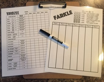 """Double sided laminated Yardzee and Farkle scorecards with clipboard and low odor dry erase marker - 8.5"""" x 11"""""""