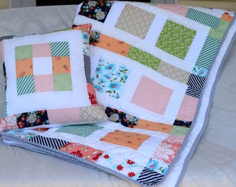 "88"" x 45"" Patchwork Quilt w/Throw Pillow~Twin Size Quilt~Lap Blanket~Handmade Quilt~Lap Blanket~ Lap Quilts~Modern Quilt"
