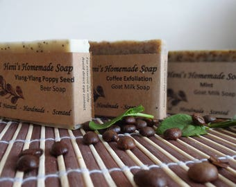 Exfoliating Soap Bundle, Natural Handmade Soap, Coffee Soap, Mint Soap, Ylang ylang Poppy Seed Soap, Aromatherapy, Exfoliation Bar Soaps