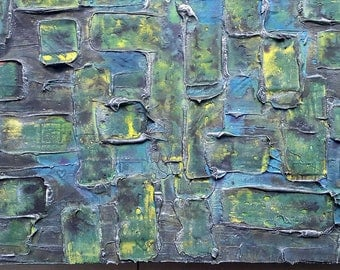 Acrylic painting canvas 50 x 50 green yellow blue abstract modern painting structures