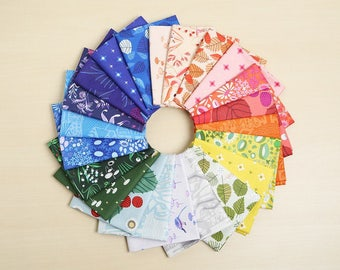 The Lovely Hunt, by, Lizzy House, complete, fat quarter, fabric, bundle, Andover, OOP, HTF, FQ, Unicorn, strawberry, meadow, leaves