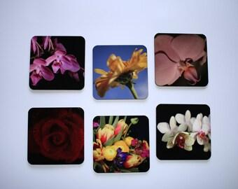 Floral Photo Coasters, Square Photo Coasters, Floral Print Coasters, Glossy Finish Floral Photo Coasters