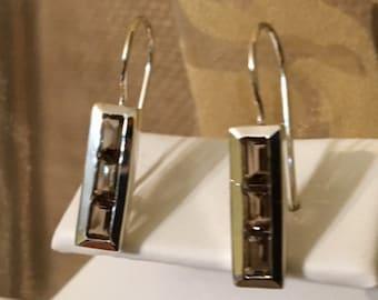 USA FREE SHIPPING-Smoky Quartz Sterling Silver Earrings