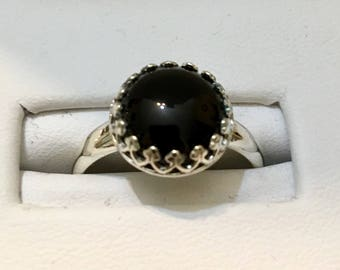 USA FREE SHIPPING!! Sterling Silver Black Onyx Ring