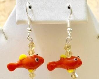 Glass Goldfish Earrings