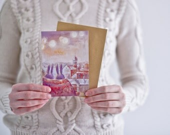 Postcard Art postcard Postcards Save the date Art postcards Illustration cards -  Postcard Two.Night.Rome READY TO SHIP