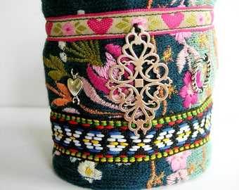 Fabric bracelet with embroidery. Cuff bracelet. Multicolor-mother's day-folk