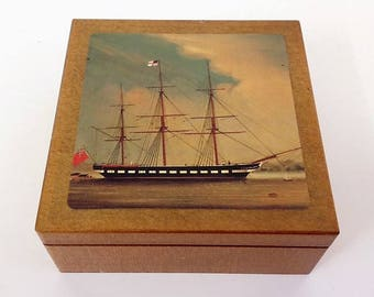 Set 6 Coasters in Wooden Box Tall Ship British Naval Vessel Nautical Themed Coasters in Shellac Wooden Box Vintage Drink/Barware Home Decor