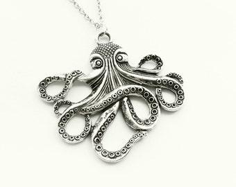 Octopus Necklace Silver | Octopus Pendants | Kthulu Chain