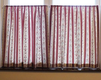 High Quality Cafe Curtains Kitchen Curtains Rod Pocket Curtains, Cream And Wine Red  Regency Stripe Cotton Curtains