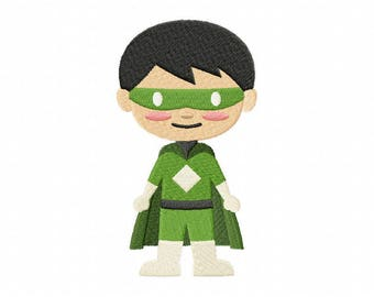 green mask superhero boy embroidery design, superhero embroidery