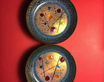 Renoir Matisse pair of small decorative enamel dishes, 1960's