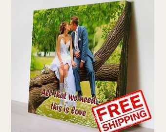 Wall Decor Love Story Wedding Poem  Custom Wedding Photo Canvas Print  Gift Idea