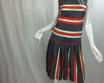 Vintage 60's Dress with Stripes Vintage Pleated Dress High Neckline Drop Waist Dress