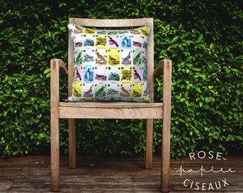 Cushion Cover Vintage Birds - Illustrations, Velveteen, Pastel Color, Blue, Yellow, Pink, Green, Pinguin, Hummingbird, Decorative Cushion