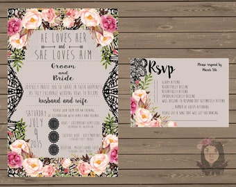 Floral Custom Digital Wedding Invite & RSVP