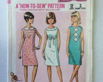 "Simplicity 6370 Vintage Sewing Pattern (cut) 1965 ""How-to-Sew"" Series Sleeveless A-Line 1960s Dress for Teens and Juniors, Size 12T"