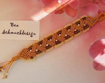 Macrame bracelet handmade bronze colors