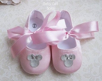 Pink and Silver Minnie Mouse First Birthday Outfit - Minnie Mouse 1st Birthday Outfit - Pink and Silver Minnie Mouse - Minnie Mouse Shoes