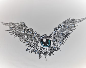 Sotis flying eye an embroidery file for the frame size 18 x 30 cm