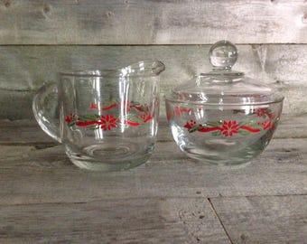 Vintage Anchor Hocking Poinsettia Ribbons creamer and sugar bowl set
