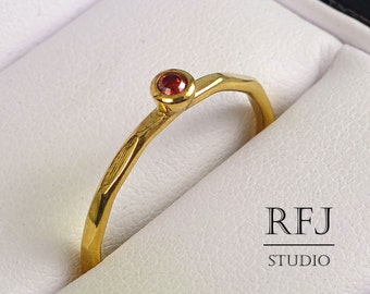 Faceted Lab Garnet Gold Ring, 24K Yellow Gold Plated Dark Red 2 mm CZ  January Birthstone Ring Stacking Gold Garnet Ring, Birthstone Jewelry