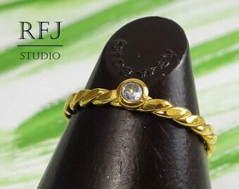 Gold Flat Braided Lab Aquamarine Ring, March Birthstone Ring, 24K Yellow Gold Plated 2 mm Ligth Blue CZ Flat Rope Ring Gold Aquamarine Ring