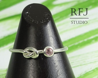 Natural Pink Tourmaline Knot Ring, 2 mm Round Cut October Birthstone Silver Tie The Knot Ring, Sterling Friendship Ring Promise Knotted Ring