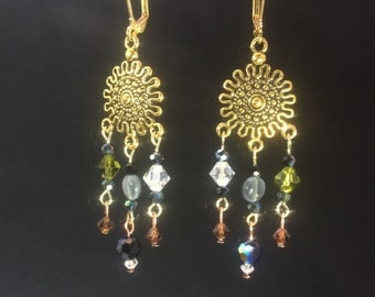 Sunburst Chandelier Leverback Earrings