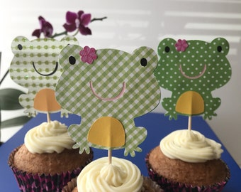 Toad cupcake toppers, frog cupcake toppers, frogs themed birthday party, set of 12.