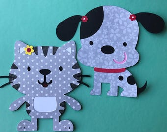 Set of two puppy and kitty cuts out.