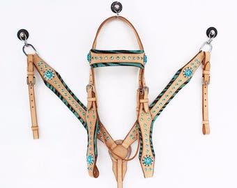 Turquoise Bling Zebra Hair On Custom Silver Show Leather Headstall Western Cowboy Horse Bridle Breast Collar Tack Set Natural Oil