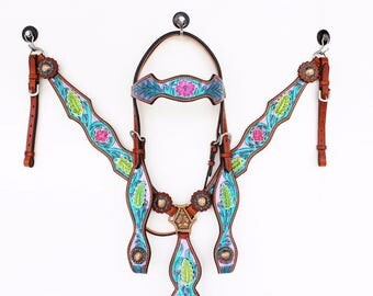 Western Barrel Trail Horse Purple Turquoise Hand Painted Floral Bling Leather Bridle Headstall Breast Collar Tack Set