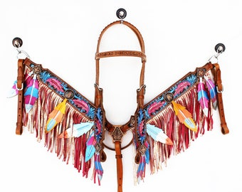 Western Barrel Trail Show Horse Hand Painted Feather Headstall Bridle Breast collar Set With Silver & Pink Metallic Sparkle Fringe