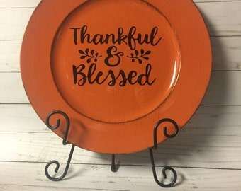 Thankful & Blessed Thanksgiving Carger Plate