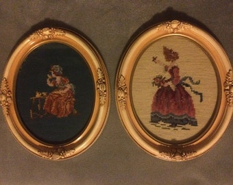 Vintage Pair of Needlepoints in Beautiful Frames
