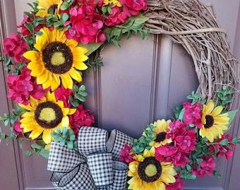 Grapevine Sunflower Wreath (#0221)