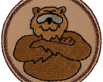 Cool Brown Bear Patch (672) 2 Inch Diameter Embroidered Patch