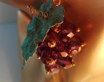 """Set Zestaw """"Cabernet sauvignon"""" Necklace Naszyjnik Halskette Earrings Kolczyki Ohrstecker Grapes Winogrona Trauben"""