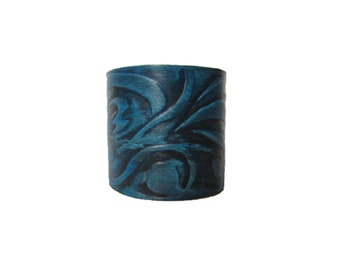 blue leather cuff, hand tooled leather bracelet, hand painted unique leather cuff, royal blue leather wristband, leather art