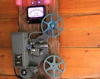 Unique vintage Keystone movie projector- steampunk wall art