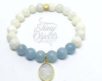 Moonstone and Aquamarine Beaded Bracelet with Moonstone Pendant