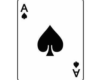 Ace Of Spades #1 Playing Card Gambling Gamble Casino Bet Betting Poker Blackjack Games .SVG .EPS .PNG Clipart Vector Cricut Cut Cutting File