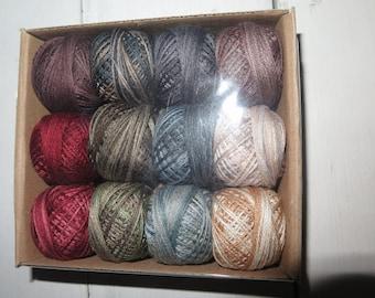 Valdani 3 strand floss balls, 30 yard , Folk Art Fusion 2, sampler 12 colors, all variagated